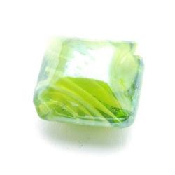 Luster kraal, vierkant (plat), groen, 16 mm (5 st.)