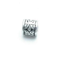 Metallook kraal, tonnetje, zilver, 8 mm (20 st.)