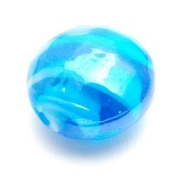 Luster kraal, rond (plat), blauw, 20 x 12 mm (5 st.)