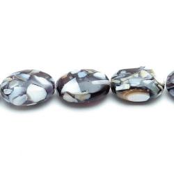 Geperste schelp kraal zwart ovaal (plat) 18 x 12 mm (6 st.)