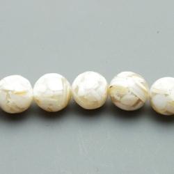 Geperste schelp kraal beige rond 12 mm (6 st.)