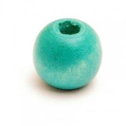 Houten kraal, rond, zeegroen, 10 mm (10 st.)