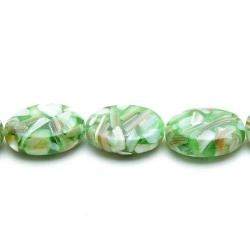 Geperste schelp kraal groen ovaal (plat) 18 x 12 mm (6 st.)