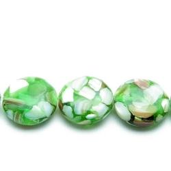 Geperste schelp kraal groen rond (plat) 18 x 12 mm (5 st.)