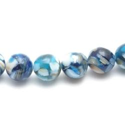 Geperste schelp kraal blauw rond 12 mm (6 st.)