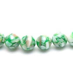 Geperste schelp kraal groen rond 8 mm (10 st.)