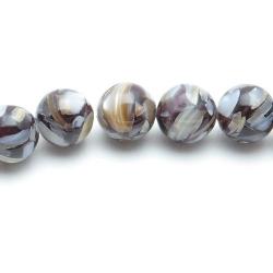 Geperste schelp kraal bruin rond 8 mm (10 st.)