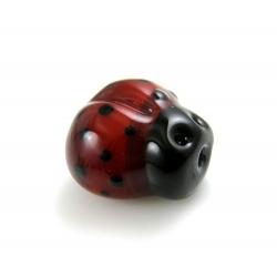 Handgemaakte glaskraal, lieveheersbeestje, 12 mm (1 st.)