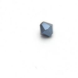 Glaskraal, bicone, facetten, zwart, metallic, 6 mm (1 streng)