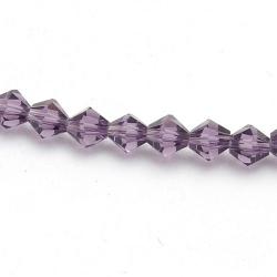 Glaskraal, bicone, facetten, amethyst, 4 mm (1 streng)