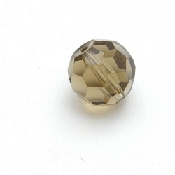 Glaskraal, rond met facetten, rookgrijs, 12 mm (5 st.)