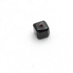 Glaskraal, blokje met facetten, zwart, 11 mm (15 st.)