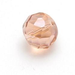 Glaskraal, rond (afgeplat) met facetten, zalmroze, 12 mm (5 st.)