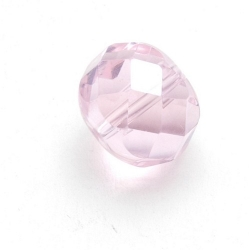 Glaskraal, rond (afgeplat) met facetten, roze, 12 mm (5 st.)
