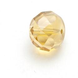 Glaskraal, rond (afgeplat) met facetten, lichtbruin, 12 mm (5 st.)