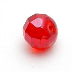 Glaskraal, rond (afgeplat) met facetten, rood, 12 mm (5 st.)