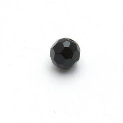 Glaskraal, rond met facetten, zwart, 12 mm (5 st.)
