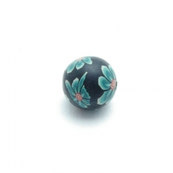 Fimo, kraal, rond, zwart/groen, 12 mm (5 st.)