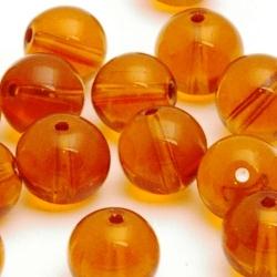 Glaskraal, rond, bruin, 8 mm (10 st.)