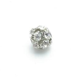 Metalen kraal, rond, zilver, strass, 16 mm (3 st.)