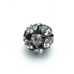 Metalen kraal, rond, zilver, donker, strass, 16 mm (3 st.)