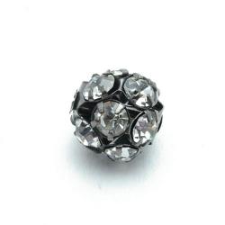 Metalen kraal, rond, zilver, donker, strass, 14 mm (3 st.)