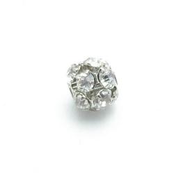 Metalen kraal, rond, zilver, strass, 14 mm (3 st.)