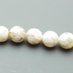 Geperste schelp kraal beige rond 10 mm (8 st.)