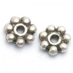 Metaal, spacer, bloem, zilver, 4 mm (50 st.)