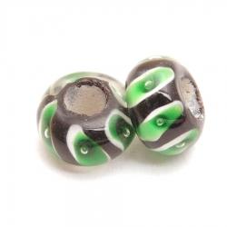 Glaskraal met groot rijggat, zwart met groen, 14 mm (1 st.)