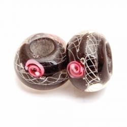 Glaskraal met groot rijggat, zwart met roze roosje, 14mm (1 st.)