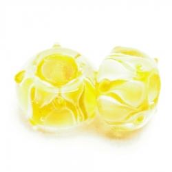 Glaskraal met groot rijggat, geel met kleine bumps, 14mm (1 st.)