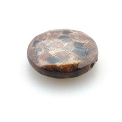 Kunststof kraal rond plat dierenprint bruin 28 mm (5 st.)