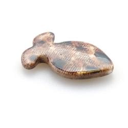 Kunststof kraal vis dierenprint bruin 34 mm (10 st.)