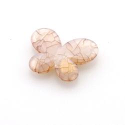 Kunststof kraal vlinder bruin 30 mm (10 st.)