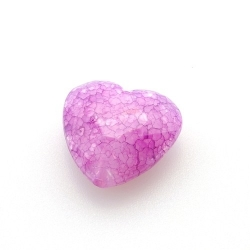 Kunststof kraal hart facet fuchsia 22 mm (6 st.)