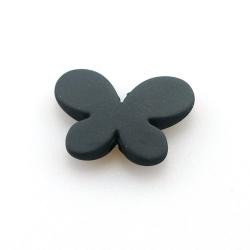 Rubber kraal, vlinder, zwart, 21 x 30 mm (10 st.)