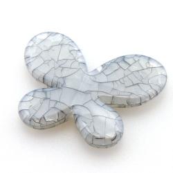 Kunststof kraal vlinder grijs 45 mm (5 st.)