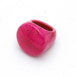 Ring, halfedelsteen, roze, maat 18 (1 st.)