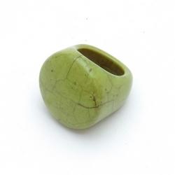 Ring, halfedelsteen, groen, maat 18 (1 st.)