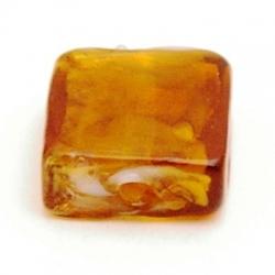 Glaskraal, vierkant (plat), bruin met goudfolie, 15 mm (5 st.)