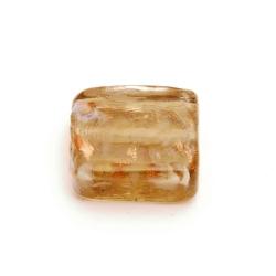 Glaskraal, vierkant (plat), grijs met goudfolie, 15 mm (5 st.)