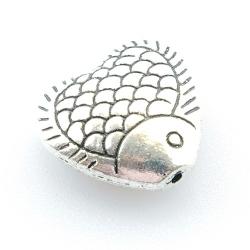 Metalen kraal, vis, hartvorm, 12 mm (10 st.)