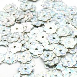 Lovertjes, bloem, zilver, 8 mm (50 gram)