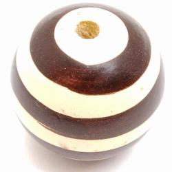 Houten kraal rond wit en bruin 30 mm (1 st.)