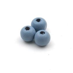 Houten kraal, rond, blauw, 8 mm (20 st.)