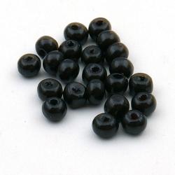 Houten kraal, rond, zwart, 4 mm (15 gram)