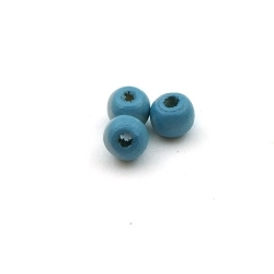 Houten kraal, rond, blauw, 6 mm (15 gram)