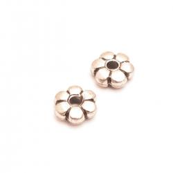 Metallook kraal, bloem, 4 x 10 mm, zilver (10 st.)