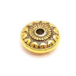 Metallook kraal, rond, plat, goud, 7 x 18 mm (10 st.)
